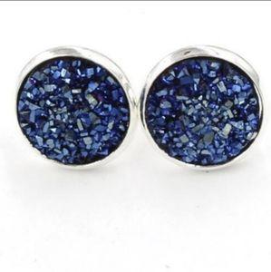 *ONE LEFT* Dark Blue Druzy Stud Earrings